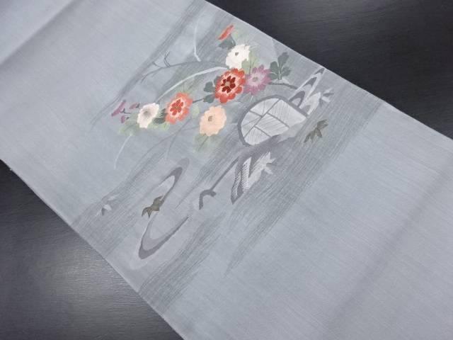 【セール30%オフ】リサイクル すくい織流水に花模様織り出し袋帯【送料無料】