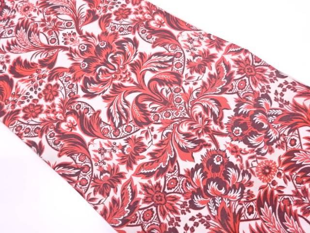 リサイクル 未使用品 となみ織物製 抽象草花模様織出し全通袋帯(未仕立て)【送料無料】