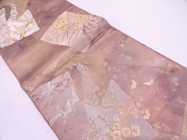 リサイクル 本金色紙に群鶴・草花模様織出し袋帯【送料無料】
