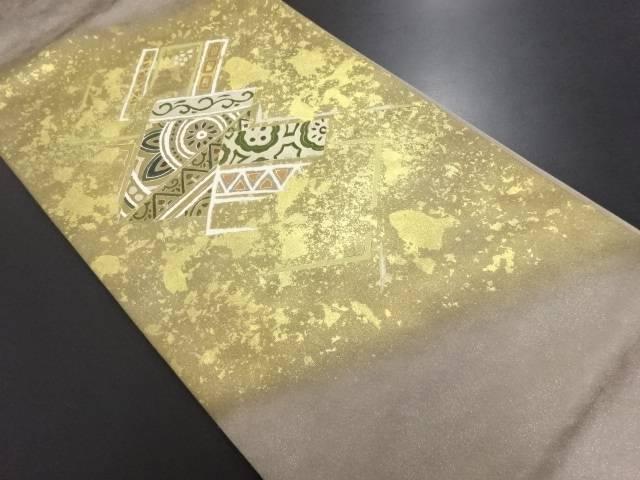 リサイクル 銀通し 華紋更紗模様袋帯【送料無料】