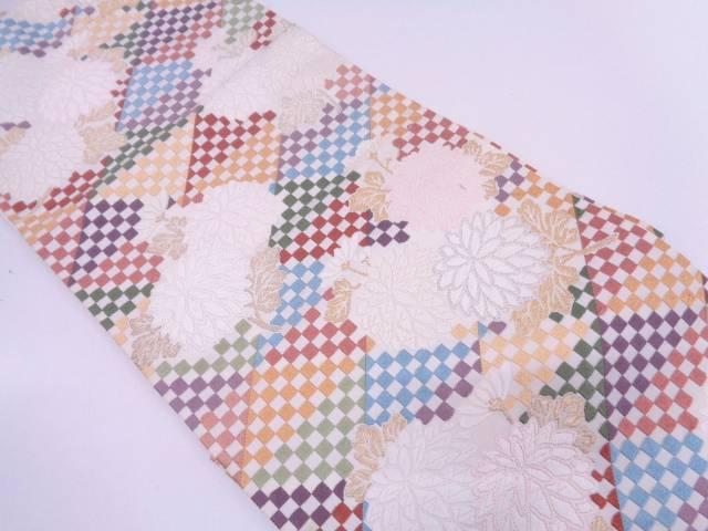 リサイクル 唐織市松にむじな菊模様織出し袋帯【送料無料】
