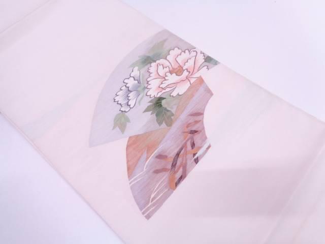 【セール30%オフ】リサイクル 本綴れ地紙に牡丹模様織出し袋帯【送料無料】