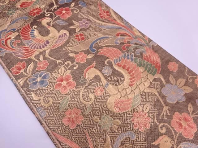 リサイクル 流水に花喰い鳥模様織出し袋帯【送料無料】