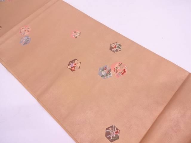 リサイクル 亀甲に草花模様織出し袋帯【送料無料】