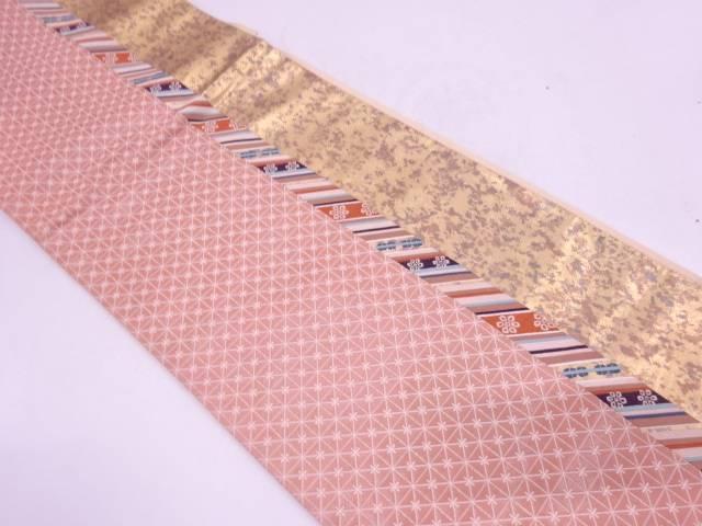 【セール30%オフ】リサイクル 漆引箔格子に斜め縞・花模様織出し袋帯【送料無料】