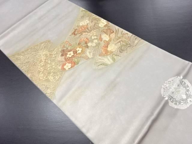 【セール30%オフ】リサイクル 未使用品 汕頭蘇州刺繍 霞に花・鴛鴦模様袋帯【送料無料】