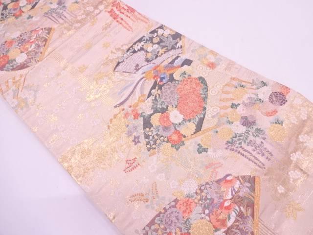 リサイクル 扇に花鳥模様織出し袋帯【送料無料】