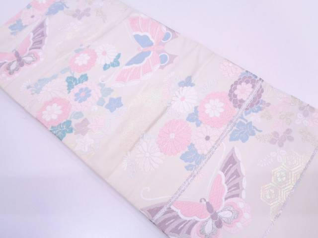 リサイクル 未使用品 蝶に草花模様織出し袋帯【送料無料】