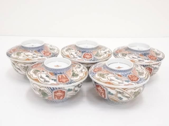 【陶芸・陶器】明治期 伊万里焼 錦手扇面蓋茶碗5客【送料無料】【中古】