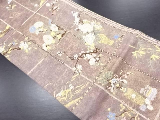 【セール30%オフ】リサイクル 未使用品 本金 格子 生け花文織り出し袋帯【送料無料】