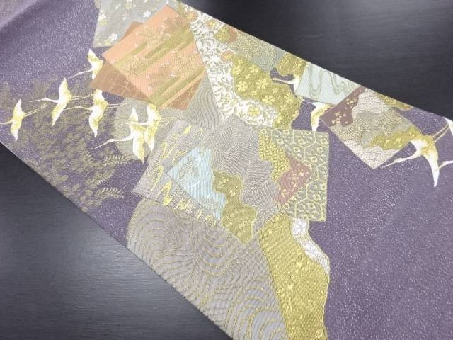 【セール30%オフ】リサイクル 丸万織物製 金銀糸 色紙に群鶴・草花模様織り出し袋帯【送料無料】