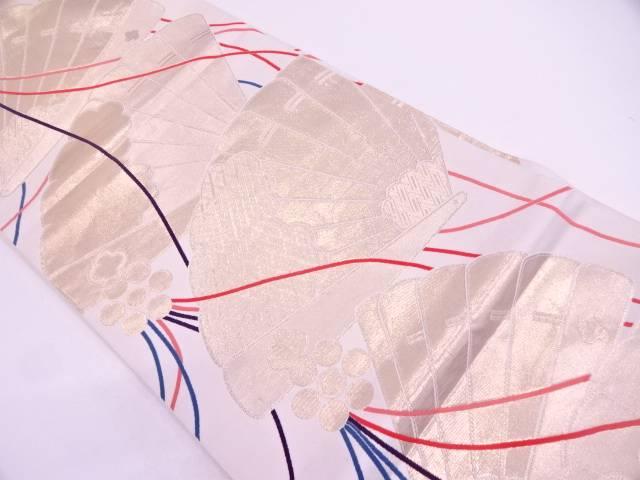 【セール30%オフ】リサイクル はくば綿24K檜扇模様織出し袋帯【送料無料】