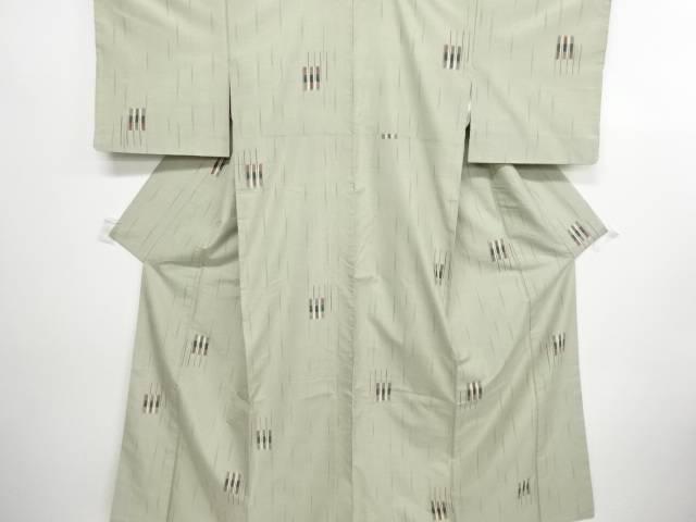 リサイクル 松に雨縞模様織り出し節紬着物【送料無料】