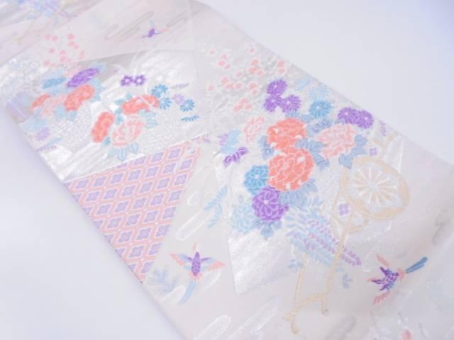 リサイクル 未使用品 裂取花車文様織出し袋帯【送料無料】