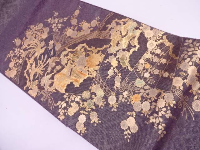 リサイクル 金彩檜扇に御所車・花鳥模様袋帯【送料無料】