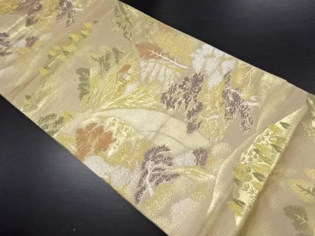 【セール30%オフ】リサイクル 金糸 滝に山小屋風景模様織り出し袋帯【送料無料】