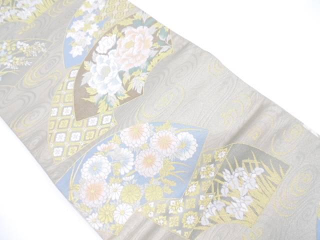 リサイクル 地紙に牡丹・草花模様織出し袋帯【送料無料】