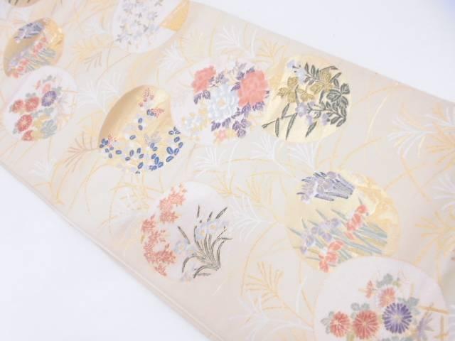 リサイクル 丸文に草花模様織出し袋帯【送料無料】