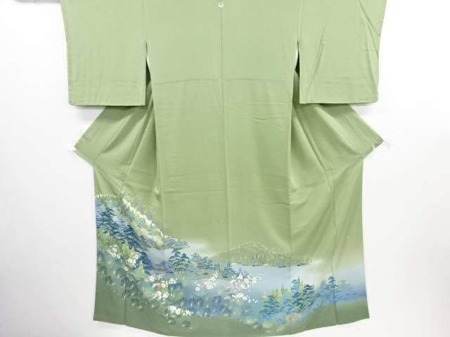 リサイクル 作家物 手描き友禅屋敷に森林風景模様一つ紋色留袖【送料無料】