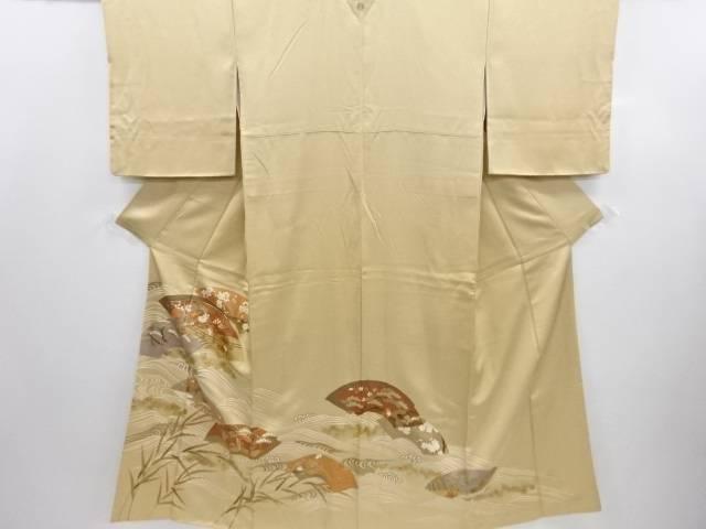 リサイクル 金彩友禅地紙に松梅菊菖蒲模様刺繍一つ紋色留袖【送料無料】