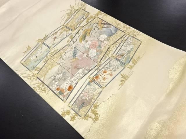 リサイクル 蘇州刺繍屏風に花鳥風景模様袋帯【送料無料】