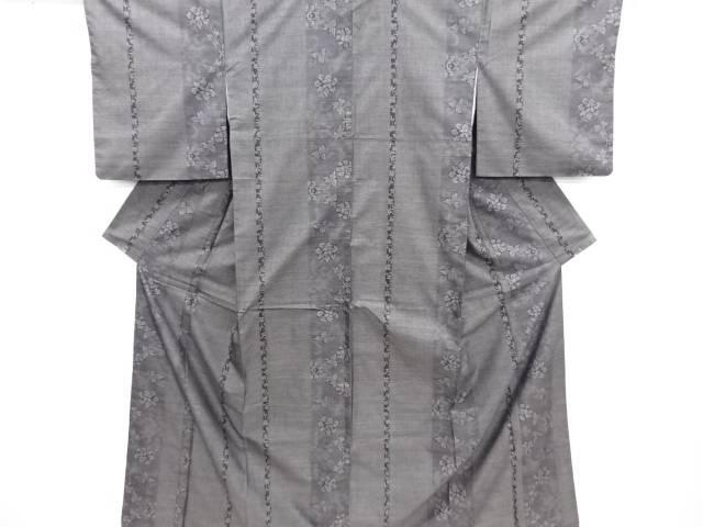 リサイクル 縞に花模様織り出し本場泥大島紬着物(7マルキ)【送料無料】