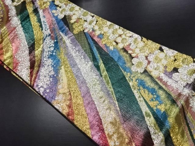 リサイクル 桜に線描き模様織り出し袋帯【送料無料】
