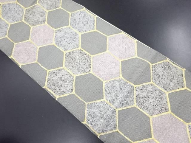リサイクル 亀甲に墨流し模様織り出し袋帯【送料無料】