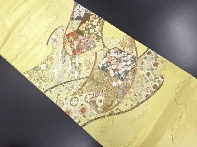 蘇州刺繍巻き物に花鳥模様袋帯【送料無料】 リサイクル