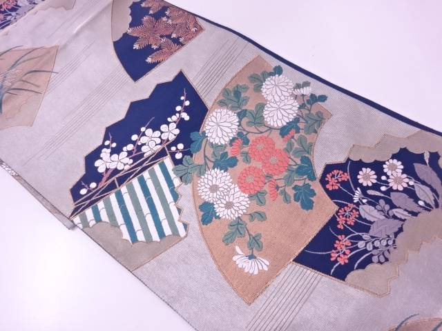 リサイクル 未使用品 地紙に松・草花模様織出し袋帯【送料無料】
