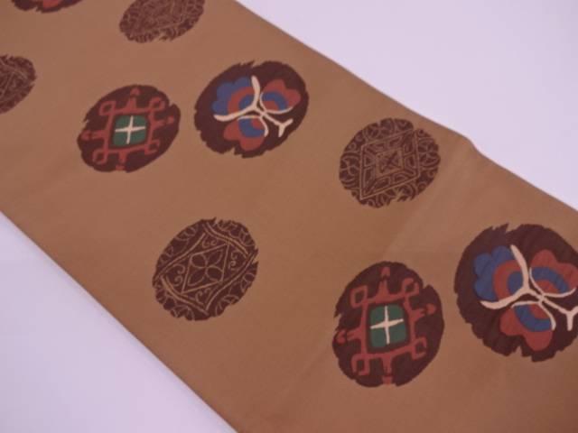 リサイクル 未使用品 三幸織物製 丸文に抽象模様織出し袋帯(未仕立て)【送料無料】