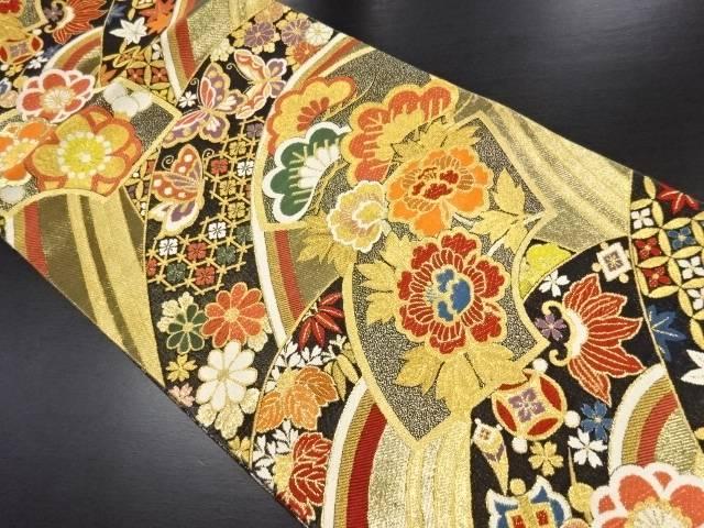 リサイクル 本金地紙に花蝶模様織り出し袋帯【送料無料】