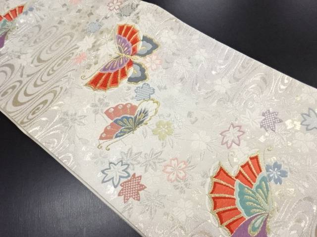 リサイクル 金銀糸流水に蝶桜楓模様織り出し袋帯【送料無料】