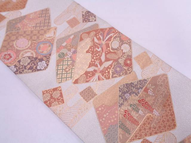 リサイクル 綴れヱ霞に色紙・鳳凰模様織出し袋帯【送料無料】