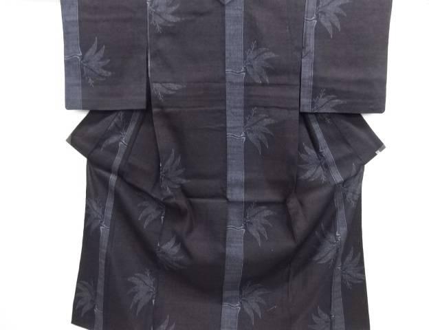 リサイクル 重要無形文化財本場結城紬100亀甲竹笹模様織り出し単衣着物【送料無料】