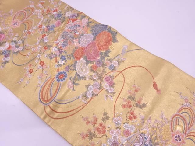 リサイクル 長嶋織物製 本金箔鳳凰に草花・組紐模様織出し袋帯【送料無料】