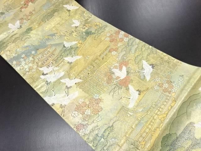 リサイクル 本金箔京名所模様織り出し袋帯【送料無料】