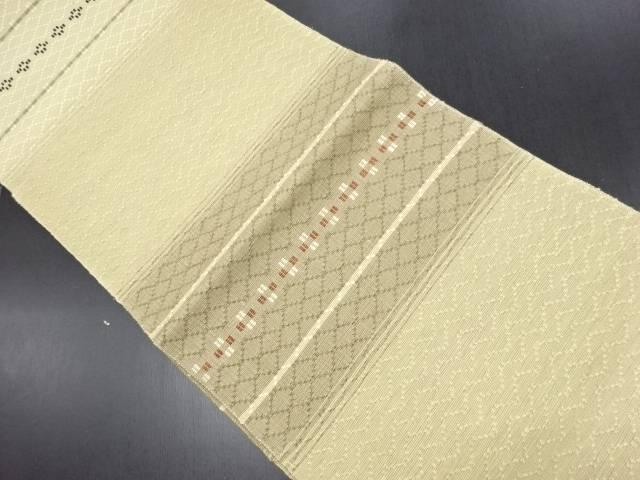 リサイクル 横段に幾何学模様織り出し名古屋帯【送料無料】