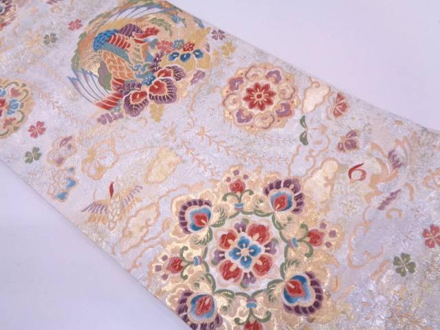 リサイクル 華紋に花鳥模様織出し袋帯【送料無料】