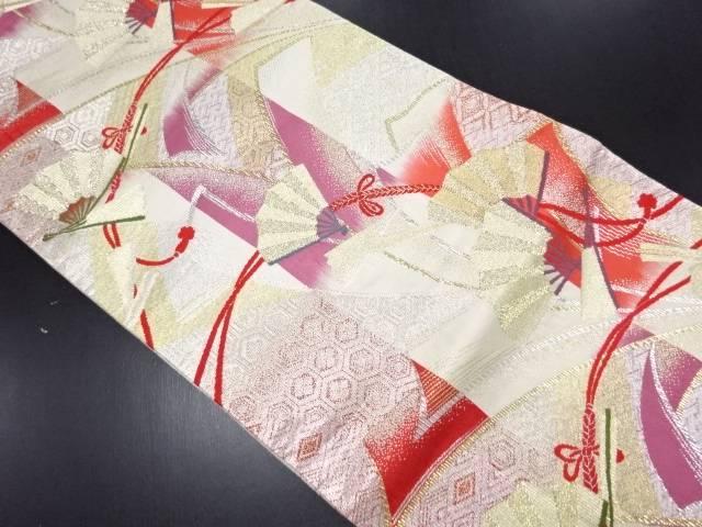 リサイクル 本金 縞に古典柄・扇模様織り出し全通袋帯【送料無料】
