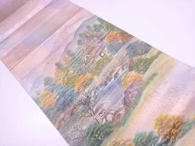 【セール30%オフ】リサイクル 作家物 引き箔手描き風景模様袋帯【送料無料】