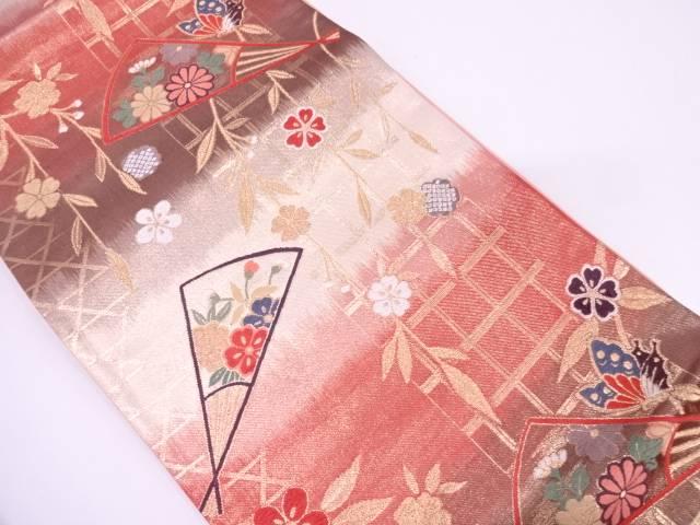 リサイクル 未使用品 扇に草花・枝垂桜模様織出し袋帯【送料無料】