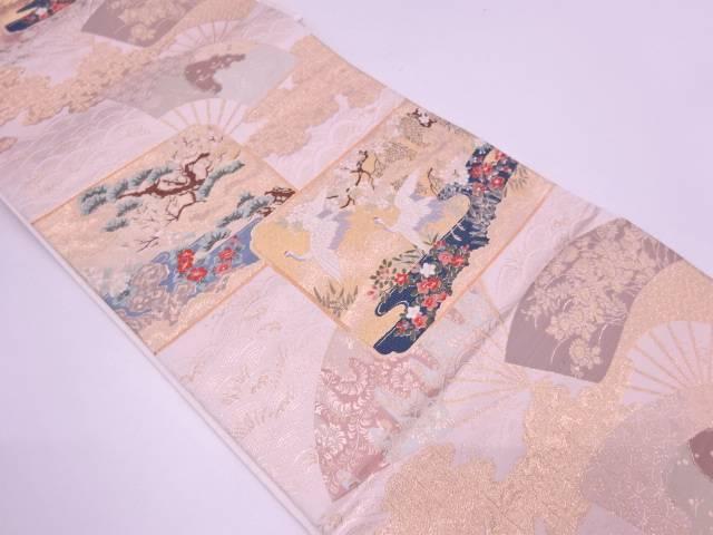 リサイクル 扇に松鶴・花模様織出し袋帯【送料無料】