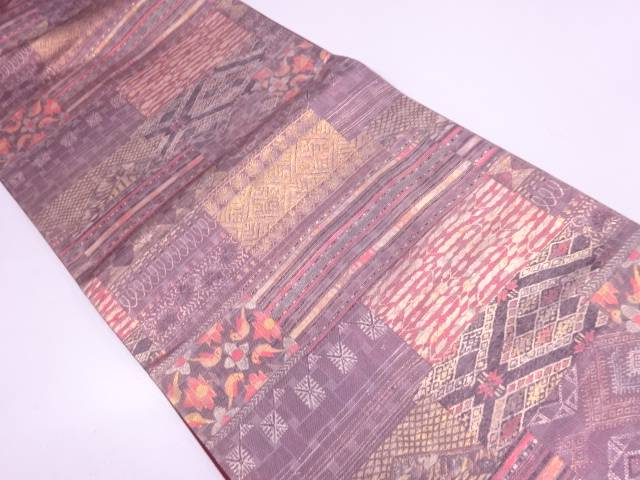 リサイクル 花鳥に古典柄模様織出し全通袋帯【送料無料】