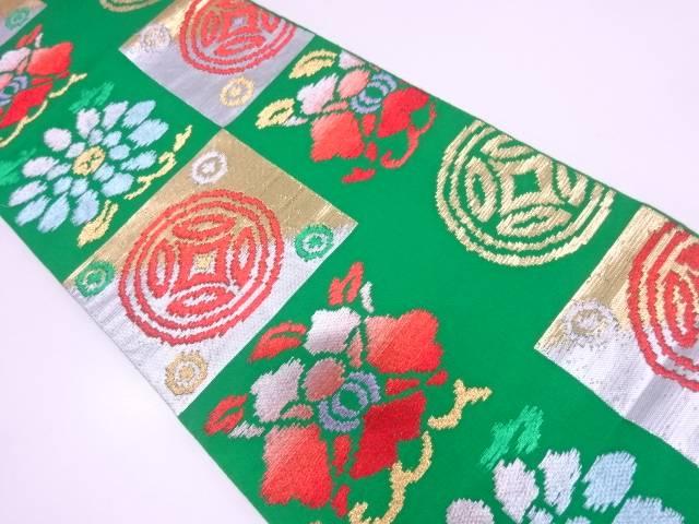 リサイクル 変わり市松に七宝模様織出し袋帯【送料無料】