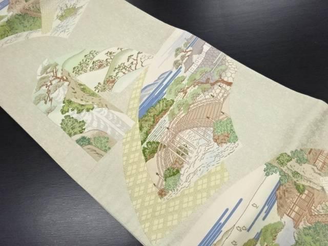 リサイクル 地紙に風景模様織り出し袋帯【送料無料】