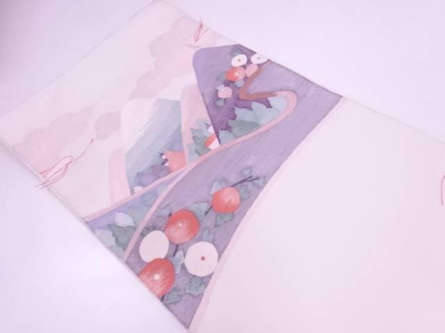 リサイクル 未使用品 すくい織風景に万寿菊模様織出し袋帯【送料無料】