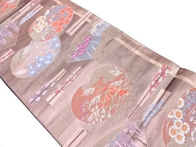 【セール30%オフ】リサイクル 未使用品 ふたみ屏風絵模様織出し袋帯【送料無料】