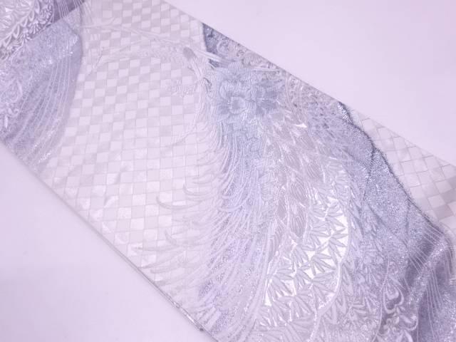 【セール30%オフ】リサイクル 未使用品 AB 河瀬満織物製 花鳥模様織出し袋帯(未仕立て)【送料無料】