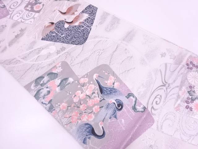 【セール30%オフ】リサイクル 色紙に松梅・鳥模様織出し袋帯【送料無料】
